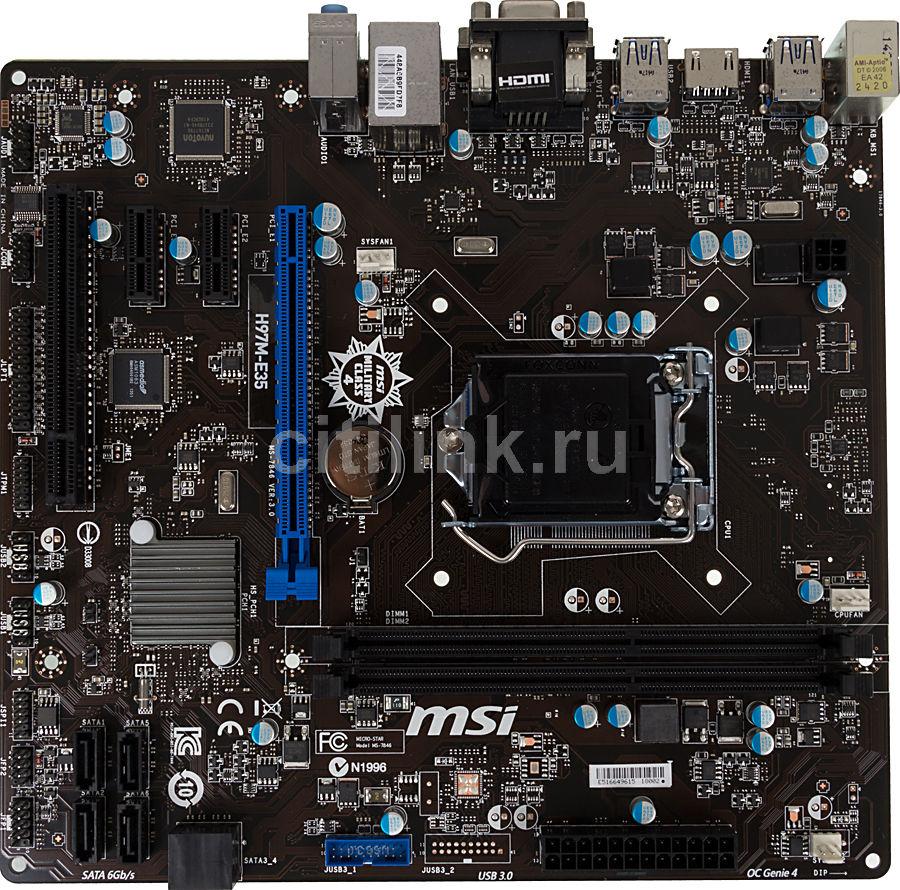 Материнская плата MSI H97M-E35, LGA 1150, Intel H97, mATX, Ret