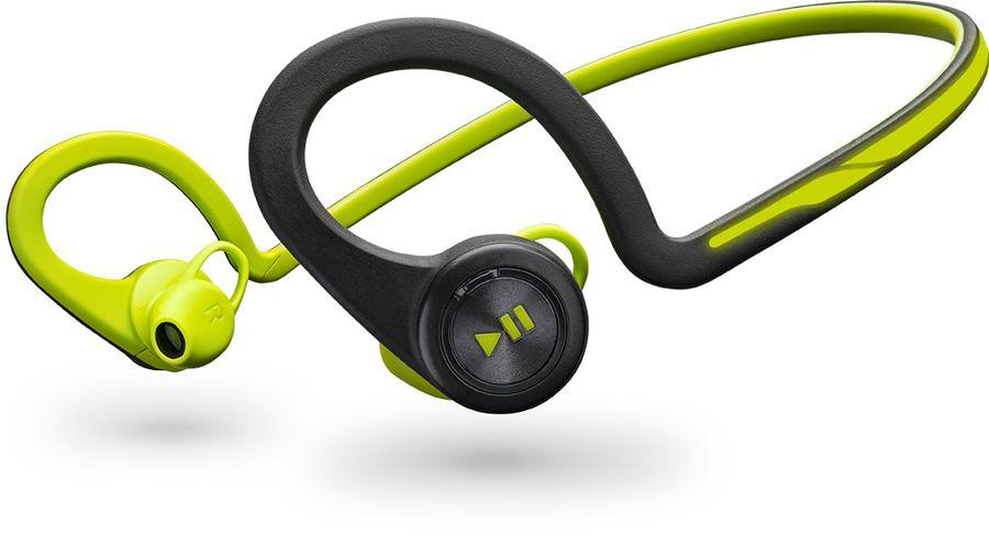 Гарнитура PLANTRONICS BackBeat Fit, вкладыши,  черный/зеленый, беспроводные bluetooth