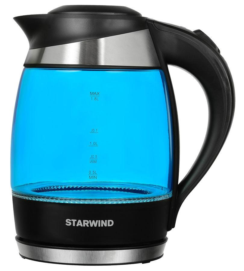 Чайник электрический STARWIND SKG2216, 2200Вт, синий и черный