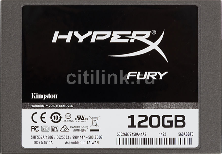 "Накопитель SSD KINGSTON HyperX FURY SHFS37A/120G 120Гб, 2.5"", SATA III"