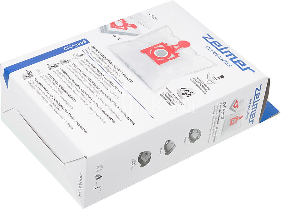 Пылесборники ZELMER ZVCA300B,  4 шт., для пылесосов Zelmer,  4 мешка + впускной фильтр