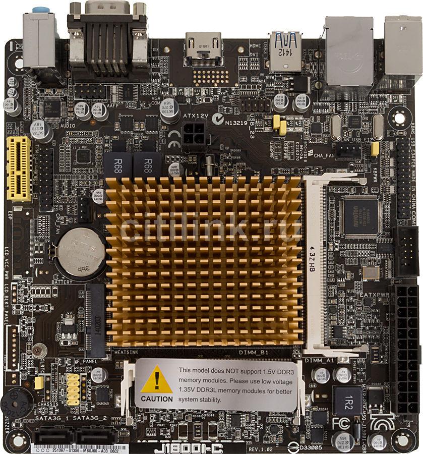 Материнская плата Asus J1800I-C Celeron 2xDDR3L mini-ITX AC`97 8ch(7.1) GbLAN+VGA+ (отремонтированный)