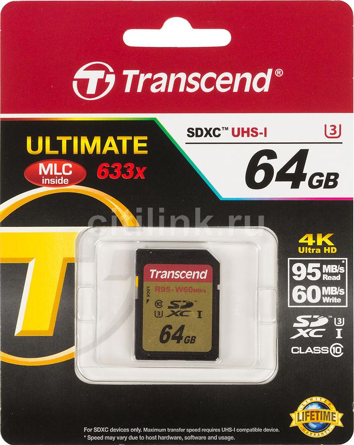 Карта памяти SDXC UHS-I U3 TRANSCEND Ultimate 64 ГБ, 95 МБ/с, Class 10, TS64GSDU3,  1 шт.