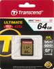 Карта памяти SDXC UHS-I U3 TRANSCEND Ultimate 64 ГБ, 95 МБ/с, Class 10, TS64GSDU3,  1 шт. вид 1