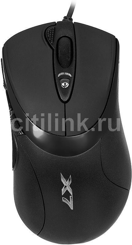 Мышь A4 X-748K, игровая, оптическая, проводная, USB, черный [x-748k usb]