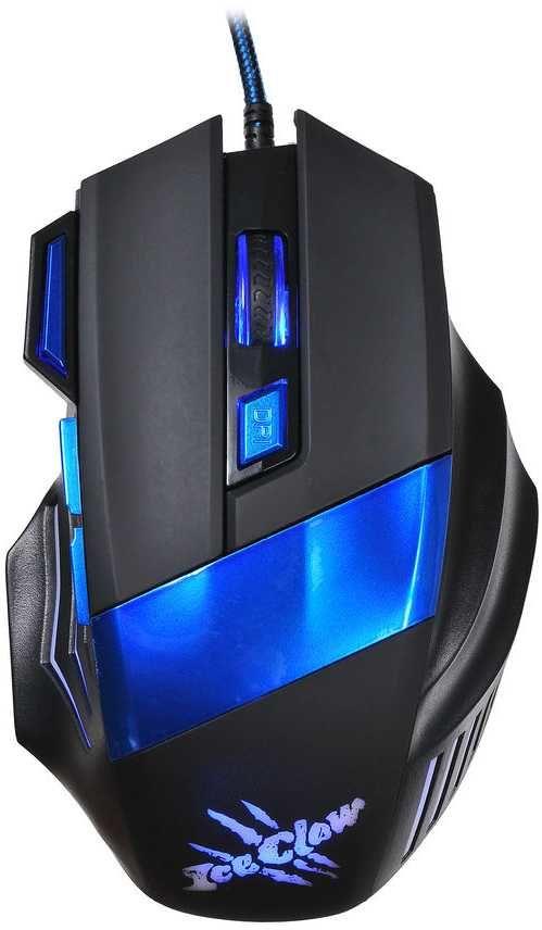 Мышь OKLICK 775G Ice Claw оптическая проводная USB, черный и синий [x3]