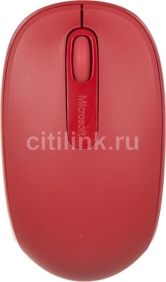 Мышь MICROSOFT Mobile Mouse 1850 оптическая беспроводная USB, красный [u7z-00034]