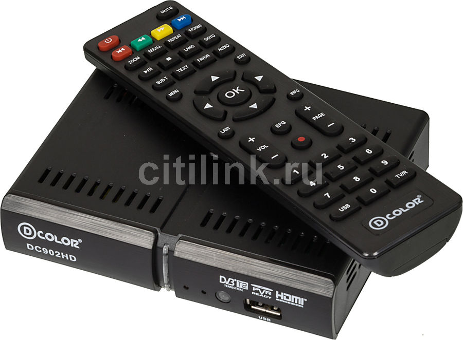 Ресивер DVB-T2 D-COLOR DC902HD, черный телеприставка qhisp iptv dvb t2 mpeg4 hd 40 car dvb t2