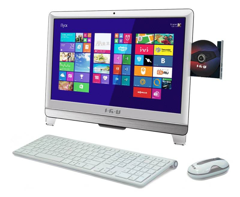 Моноблок IRU T2105, Intel Core i5 3470T, 4Гб, 1Тб, Intel HD Graphics, DVD-RW, Windows 7 Professional, белый [949403]
