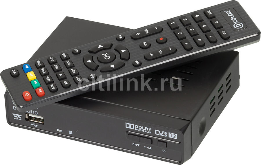 Ресивер DVB-T2 D-COLOR DC1302HD, черный телеприставка qhisp iptv dvb t2 mpeg4 hd 40 car dvb t2