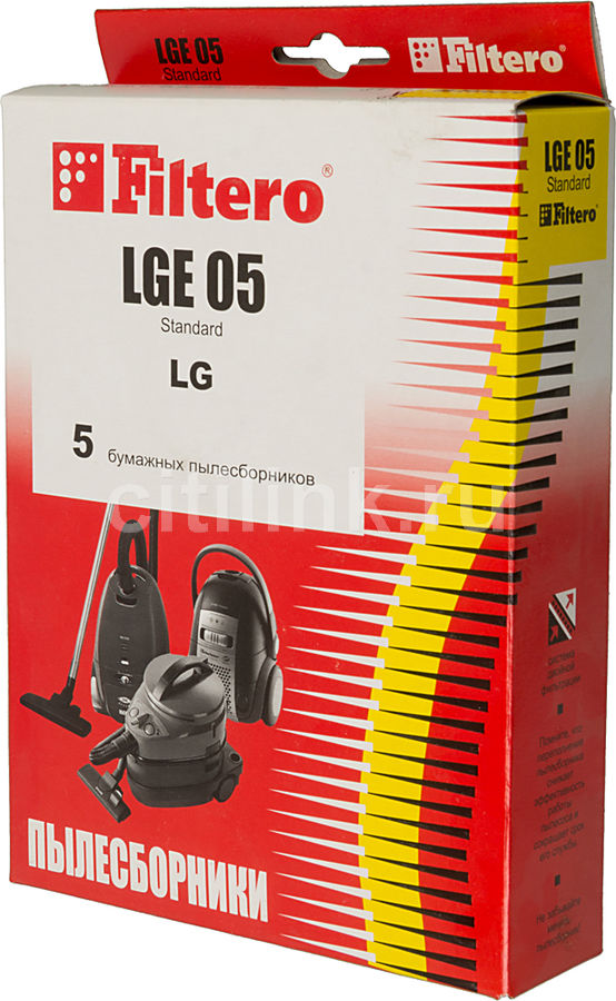Пылесборники FILTERO LGE 05 Standard,  двухслойные,  5 шт., для пылесосов LG