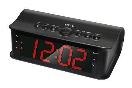 Радиобудильник ROLSEN CR-180, красная подсветка,  черный