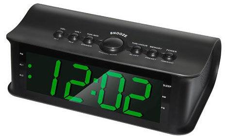 Радиобудильник ROLSEN CR-182, зеленая подсветка,  черный