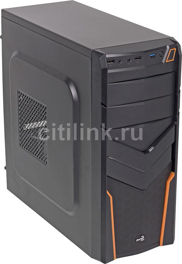 Корпус ATX AEROCOOL V2X, Midi-Tower, без БП,  черный и оранжевый
