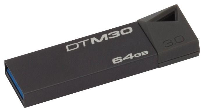 Флешка USB KINGSTON DataTraveler Mini 64Гб, USB3.0, серый [dtm30/64gb-yan]