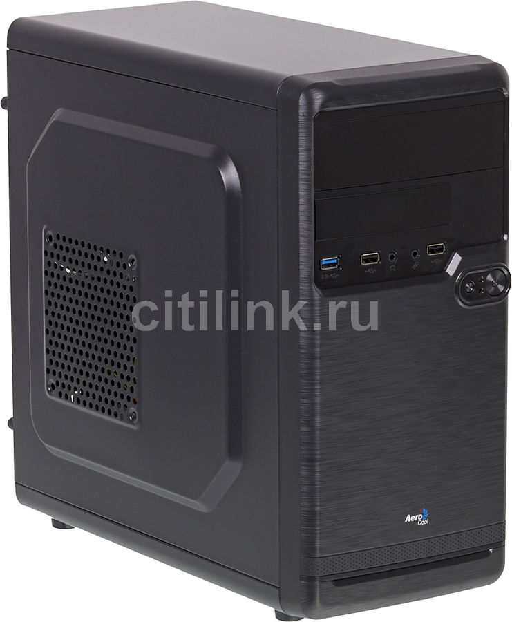 Корпус mATX AEROCOOL Qs-182, Mini-Tower, без БП, черный корпус matx fractal design define mini c tg mini tower без бп черный