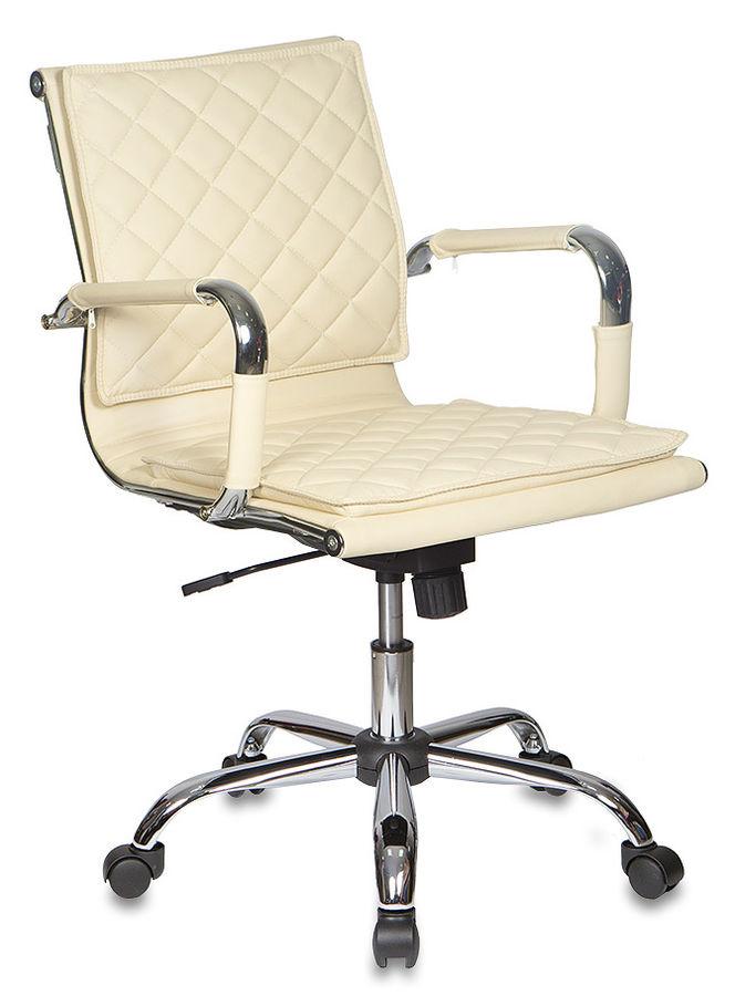 Кресло руководителя БЮРОКРАТ CH-991-Low, на колесиках, искусственная кожа, слоновая кость [ch-991-low/ivory]