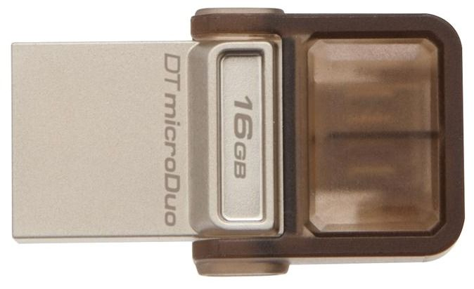 Флешка USB KINGSTON DataTraveler microDuo 16Гб, USB2.0, коричневый [dtduo/16gb]