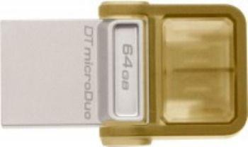 Флешка USB KINGSTON DataTraveler microDuo 64Гб, USB2.0, коричневый [dtduo/64gb]