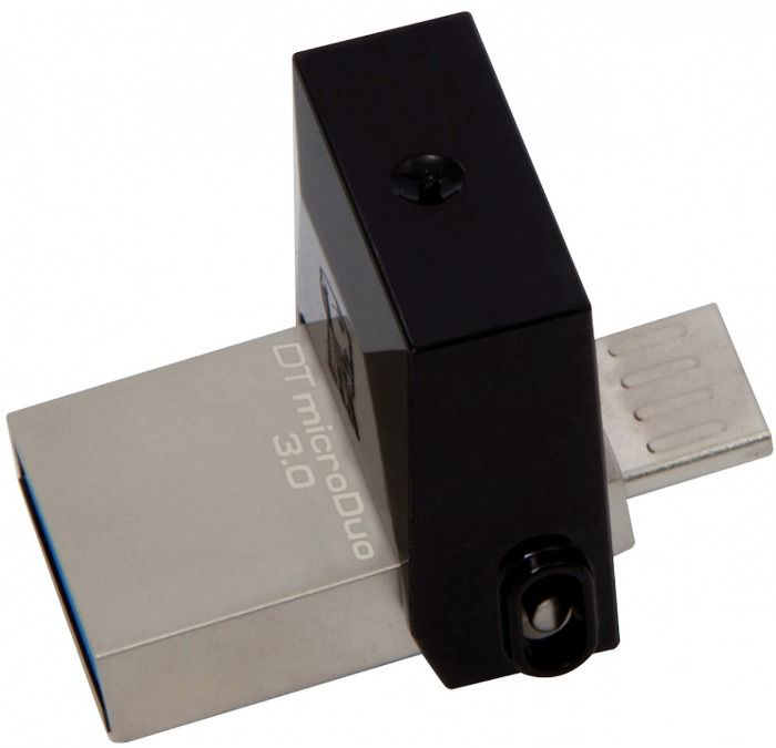 Флешка USB KINGSTON DataTraveler microDuo 16Гб, USB3.0, черный [dtduo3/16gb]