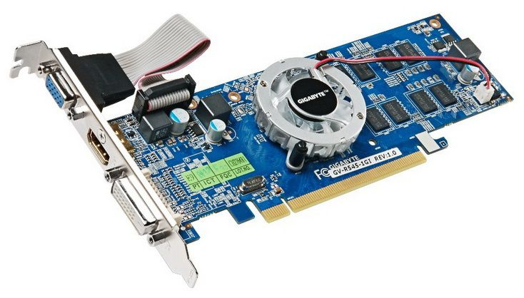 Видеокарта GIGABYTE Radeon HD 5450,  1Гб, DDR3, Low Profile,  oem [gv-r545-1gi]