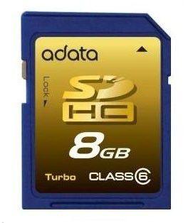 Карта памяти SDHC A-DATA 8 ГБ, Class 6, ASDH8GCL6-R,  1 шт.
