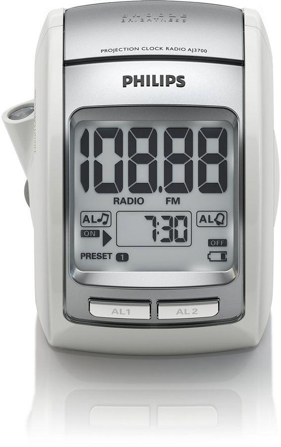 Радиобудильник PHILIPS AJ3700/12, белая подсветка,  серебристый