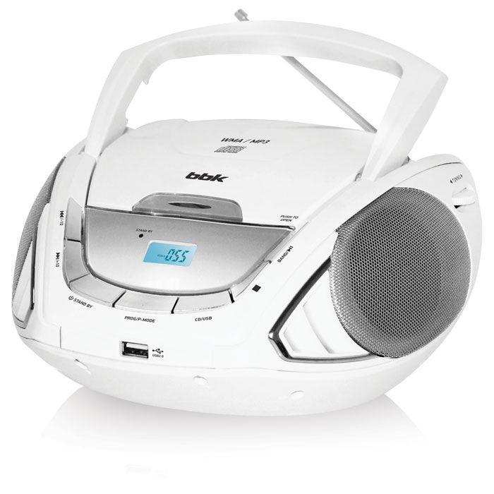 Аудиомагнитола BBK BX190U,  белый и серебристый