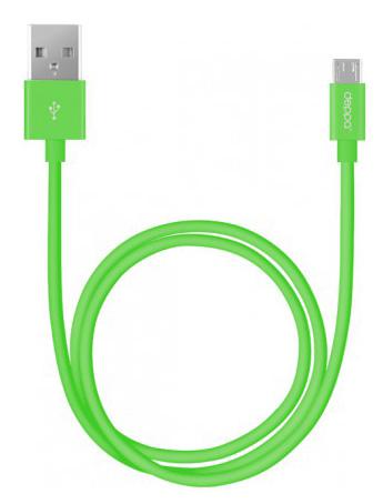 Кабель DEPPA 72146,  USB -  microUSB,  1.2м,  зеленый