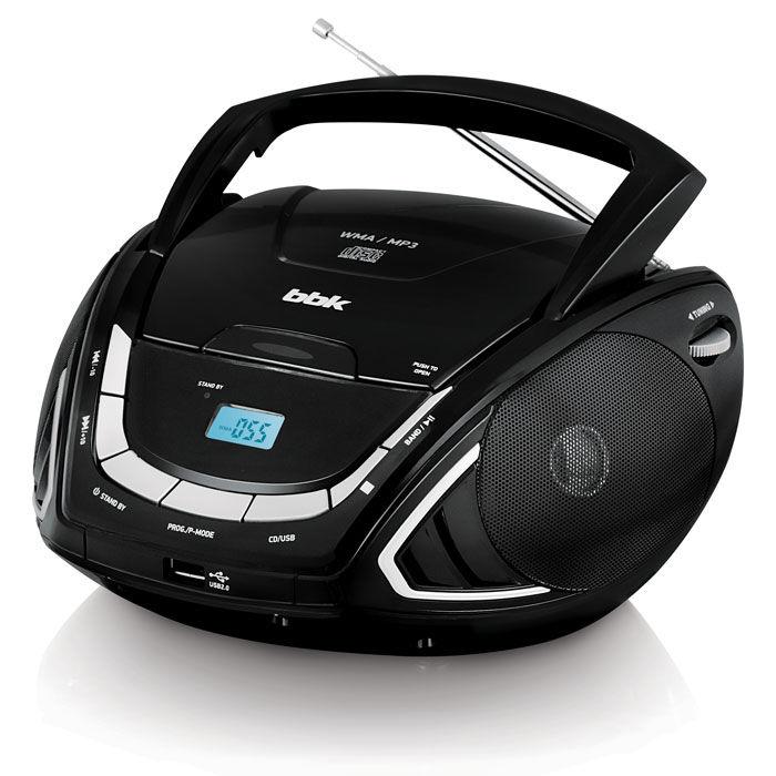 Аудиомагнитола BBK BX190U,  черный и серебристый
