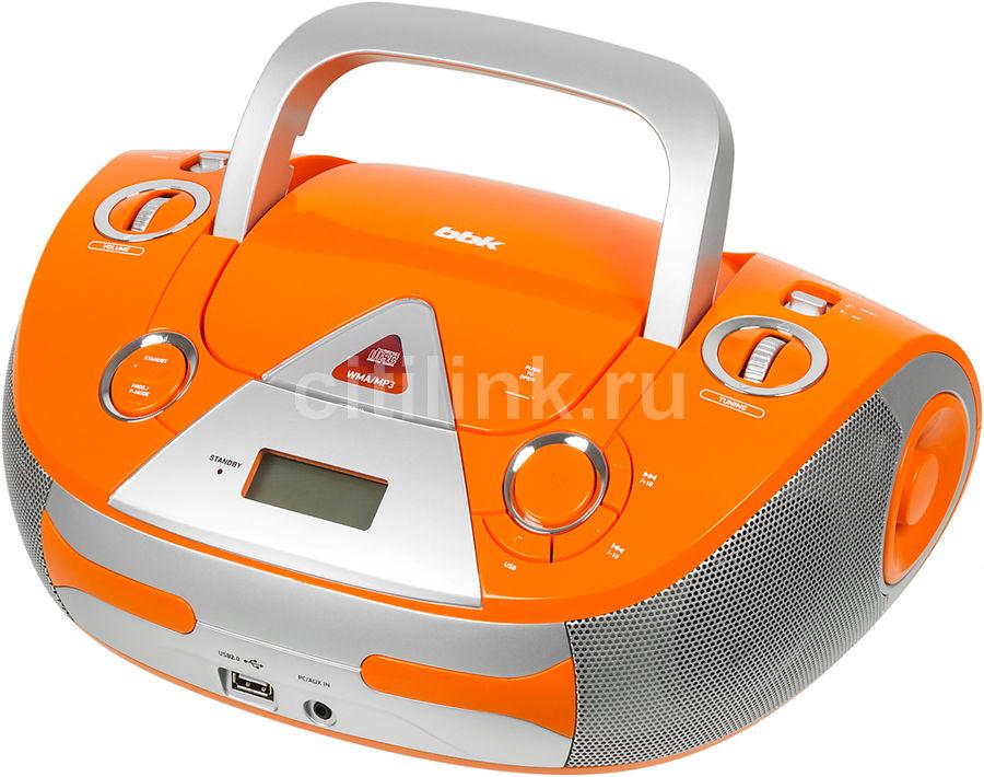 Аудиомагнитола BBK BX325U,  оранжевый и серебристый