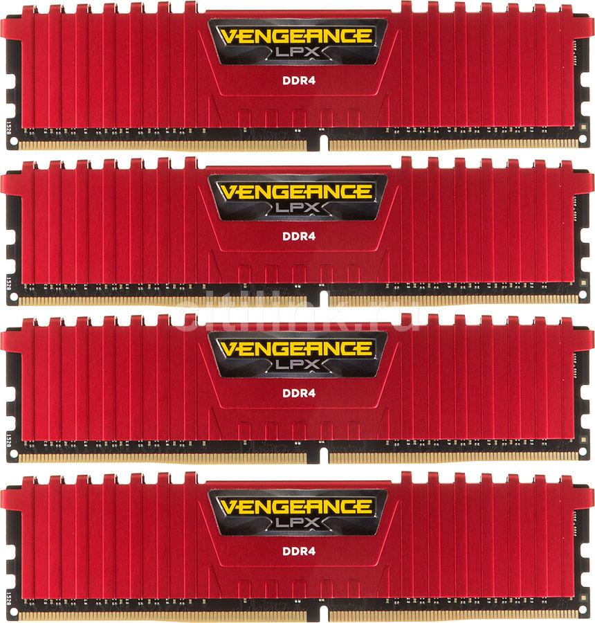 Модуль памяти CORSAIR Vengeance LPX CMK16GX4M4A2666C15R DDR4 -  4x 4Гб 2666, DIMM,  Red,  Ret