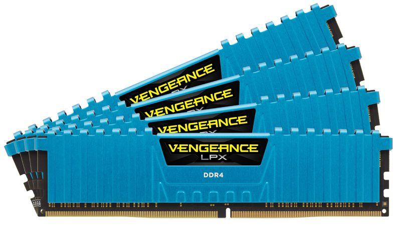 Модуль памяти CORSAIR Vengeance LPX CMK16GX4M4A2800C16B DDR4 -  4x 4Гб 2800, DIMM,  Blue,  Ret