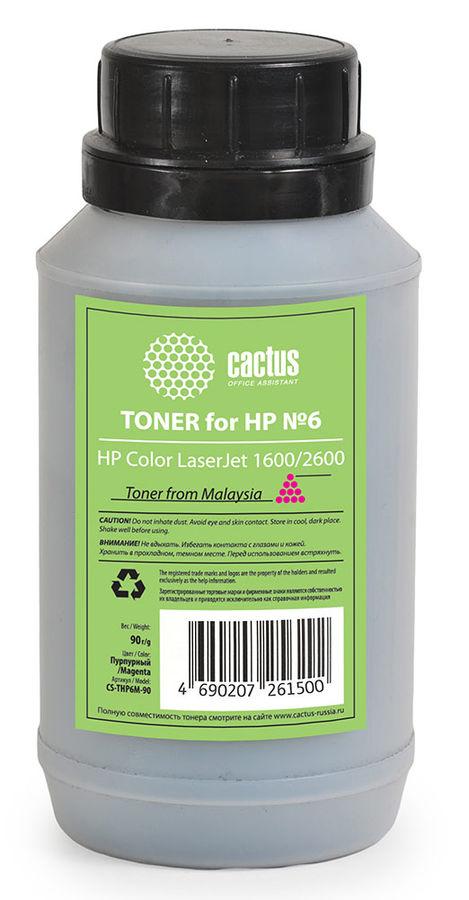 Тонер CACTUS CS-THP6M-90,  для HP CLJ 1600/2600,  пурпурный, 90грамм, флакон