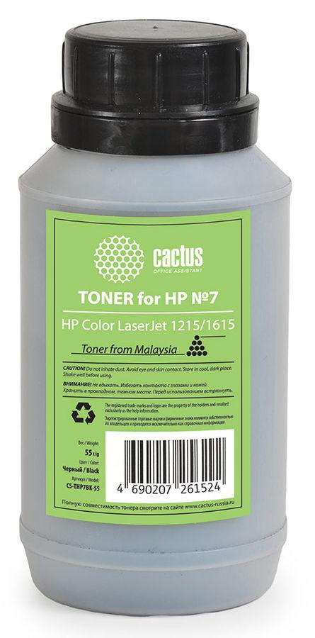 Тонер CACTUS CS-THP7BK-55,  для HP CLJ 1215/1615,  черный, 55грамм, флакон