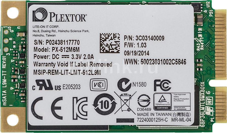 SSD накопитель PLEXTOR M6M PX-512M6M 512Гб, mSATA, SATA III