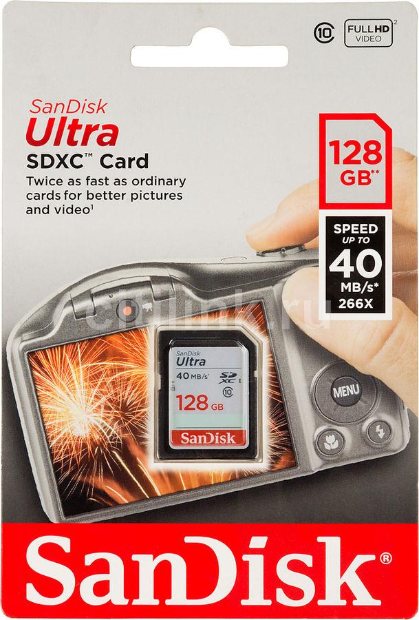 Карта памяти SDXC UHS-I SANDISK Ultra 128 ГБ, 40 МБ/с, 266X, Class 10, SDSDUN-128G-G46,  1 шт.