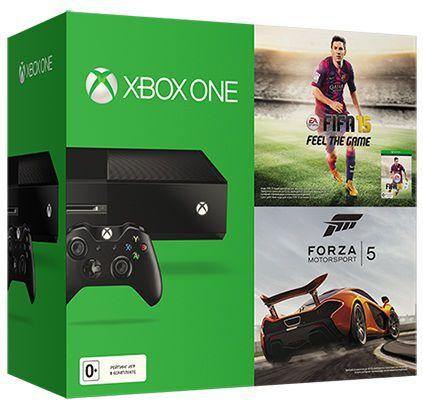 Игровая консоль MICROSOFT Xbox One c 500 ГБ памяти, играми FIFA 15 и Forza 5,  5C7-00030, черный
