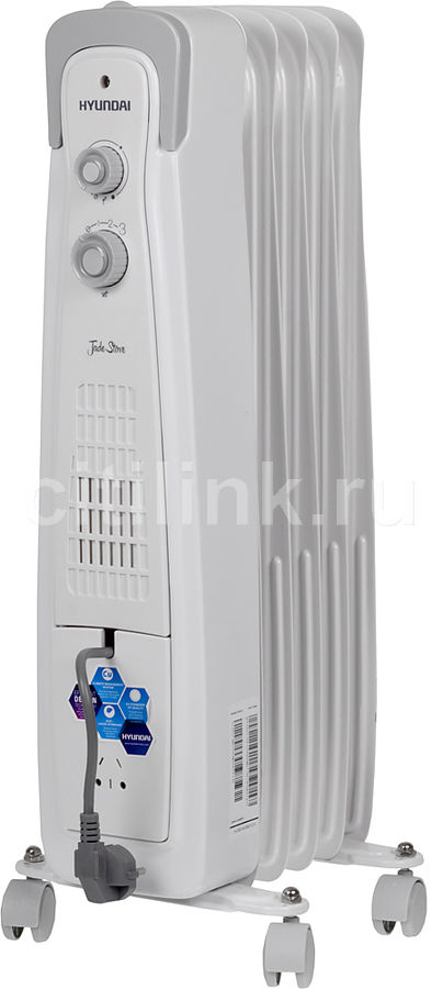 Масляный радиатор HYUNDAI H-HO1-05-UI550, 1000Вт, белый
