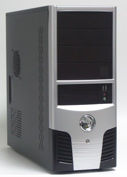Корпус ATX FOXCONN TLA-624, 500Вт,  черный и серебристый