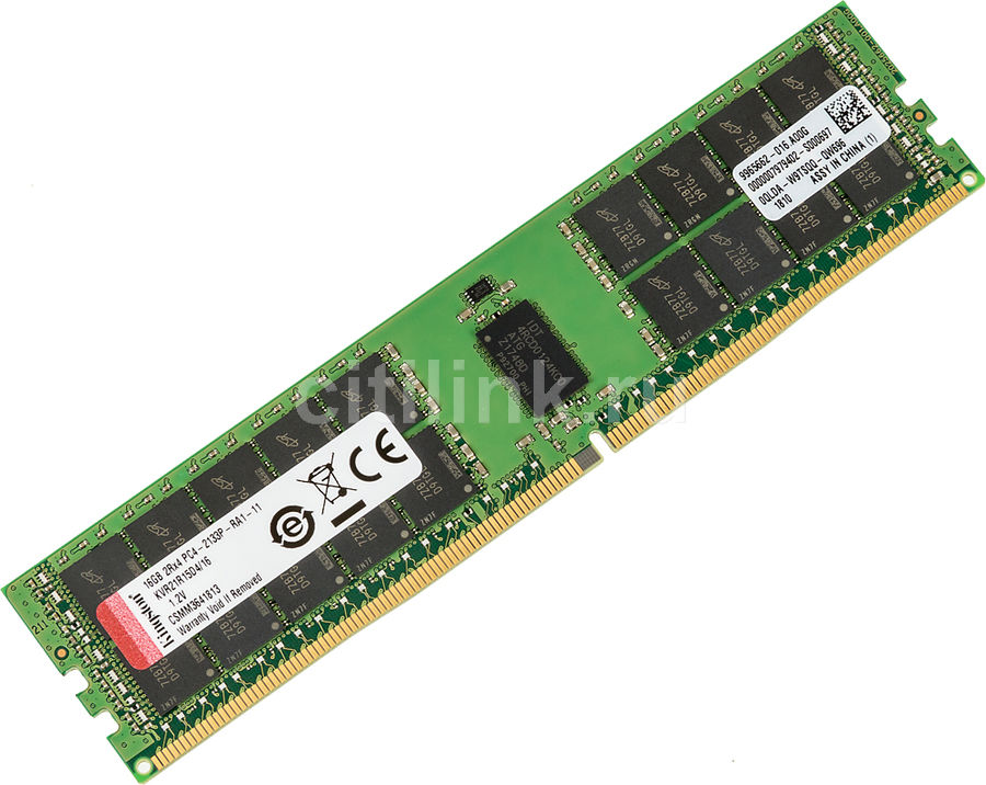 Память DDR4 Kingston KVR21R15D4/16 16Gb DIMM ECC Reg PC4-17000 CL15 2133MHz