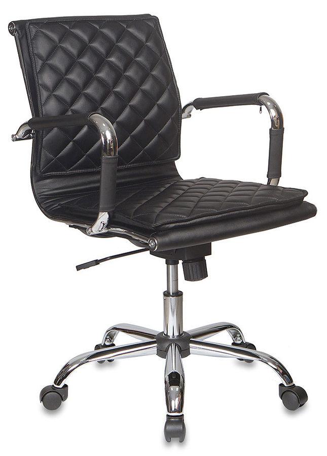 Кресло руководителя БЮРОКРАТ CH-991-Low, на колесиках, искусственная кожа, черный [ch-991-low/black]