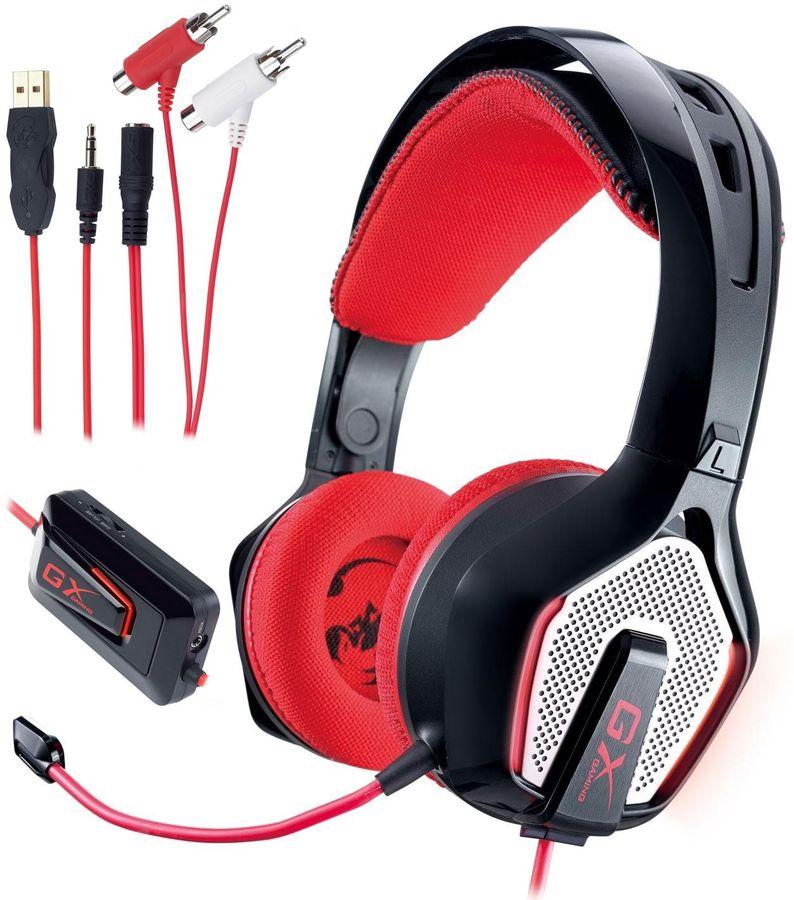 Наушники с микрофоном GENIUS GX Gaming HS-G850,  мониторы, черный  / красный [31710057101]