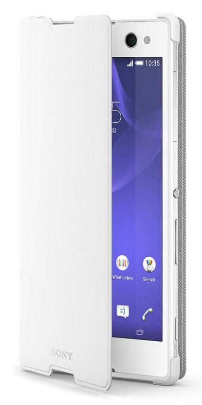 Чехол (флип-кейс) SONY SCR15, для Sony Xperia C3, белый [scr15 white]