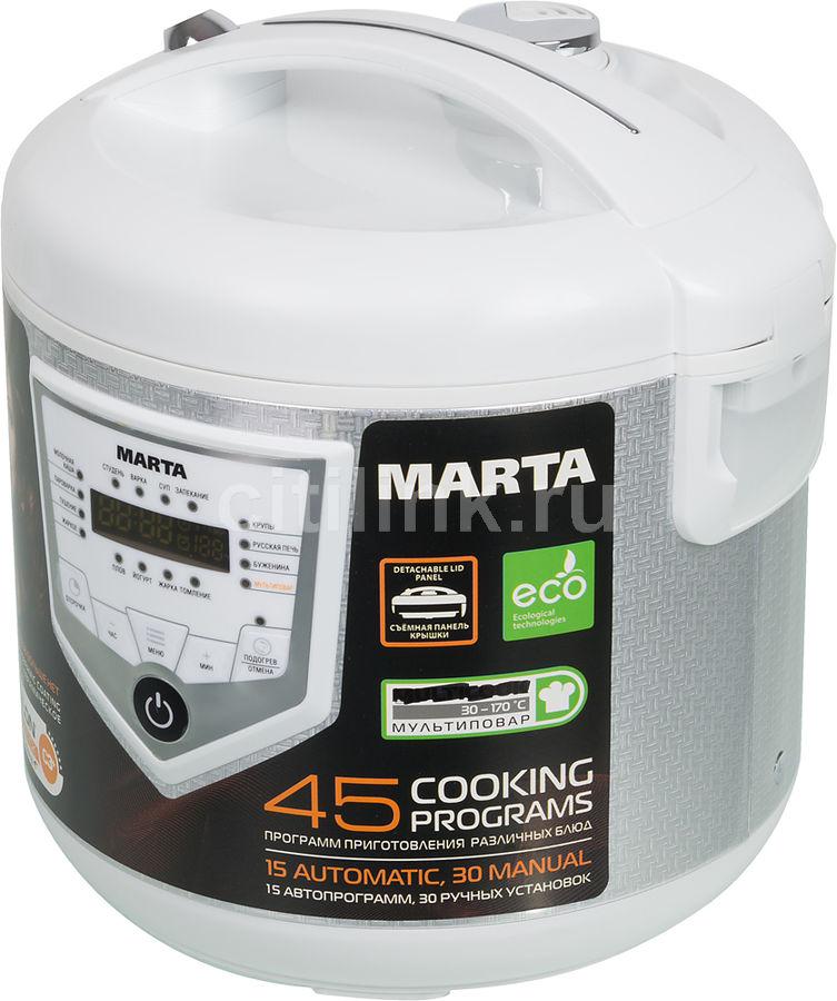 Мультиварка MARTA MT-4308,  860Вт,   белый/серебристый