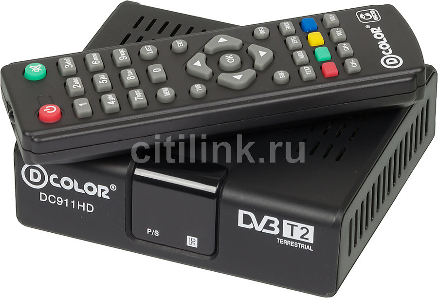 Ресивер DVB-T2 D-COLOR DC911HD ECO, черный телеприставка qhisp iptv dvb t2 mpeg4 hd 40 car dvb t2