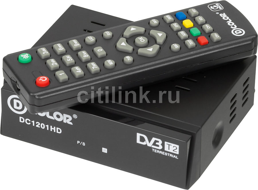 Ресивер DVB-T2 D-COLOR DC1201HD ECO, черный