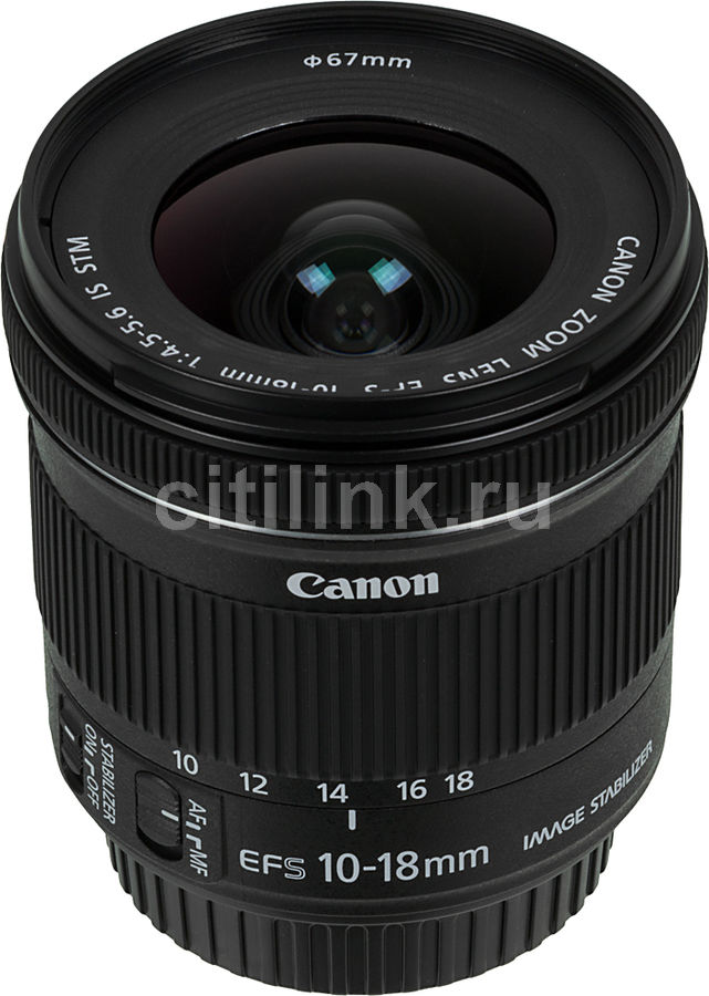 Объектив CANON 10-18mm f/4.5-5.6 EF-S IS STM, Canon EF-S [9519b005]Объективы для фотоаппаратов<br>байонет, тип: Canon EF-S,  c оптическим стабилизатором<br>