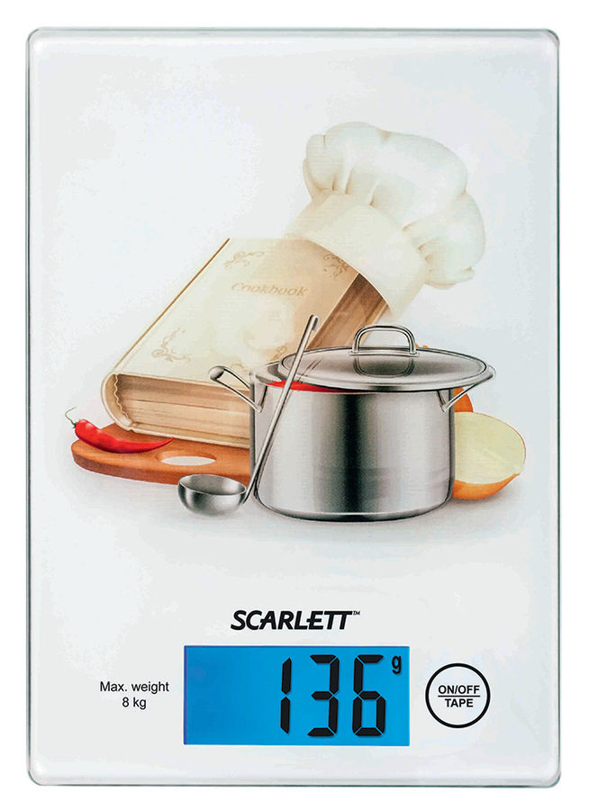Весы кухонные SCARLETT SC-1217,  белый/поваренок