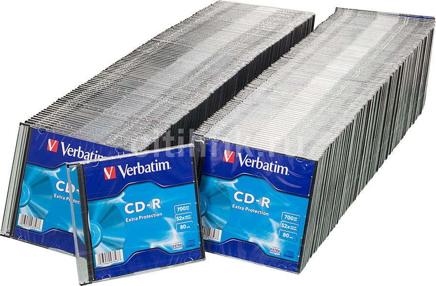 Оптический диск CD-R VERBATIM 700Мб 52x, 200шт., slim case [43347]